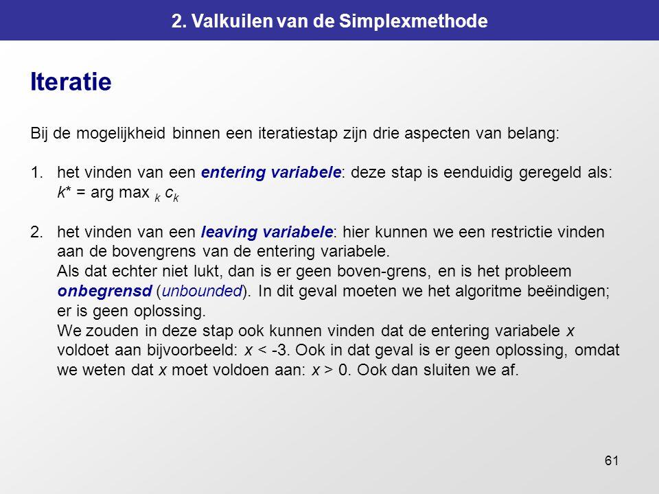 61 2. Valkuilen van de Simplexmethode Iteratie Bij de mogelijkheid binnen een iteratiestap zijn drie aspecten van belang: 1.het vinden van een enterin