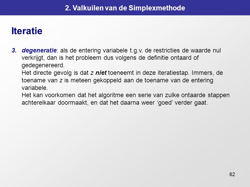 62 2. Valkuilen van de Simplexmethode Iteratie 3.degeneratie: als de entering variabele t.g.v. de restricties de waarde nul verkrijgt, dan is het prob