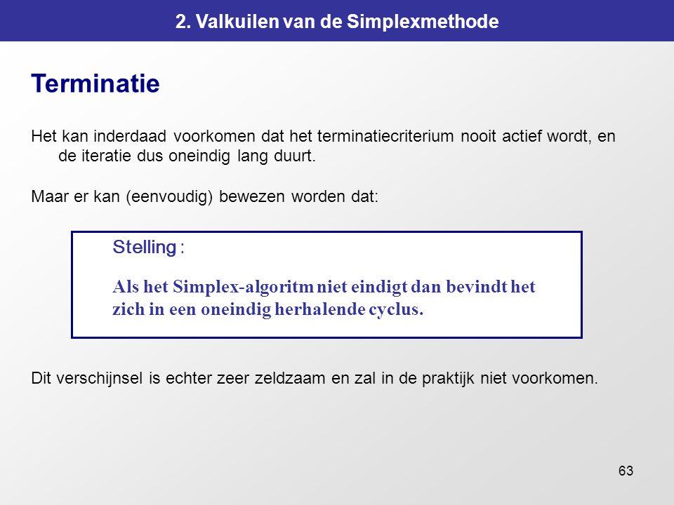 63 2. Valkuilen van de Simplexmethode Terminatie Het kan inderdaad voorkomen dat het terminatiecriterium nooit actief wordt, en de iteratie dus oneind