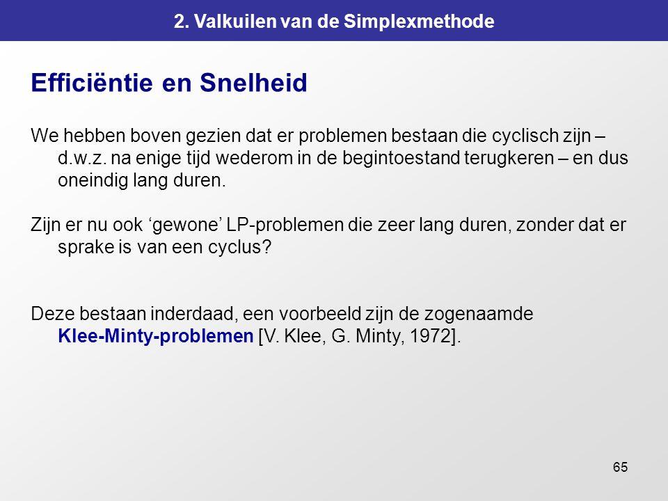 65 2. Valkuilen van de Simplexmethode Efficiëntie en Snelheid We hebben boven gezien dat er problemen bestaan die cyclisch zijn – d.w.z. na enige tijd