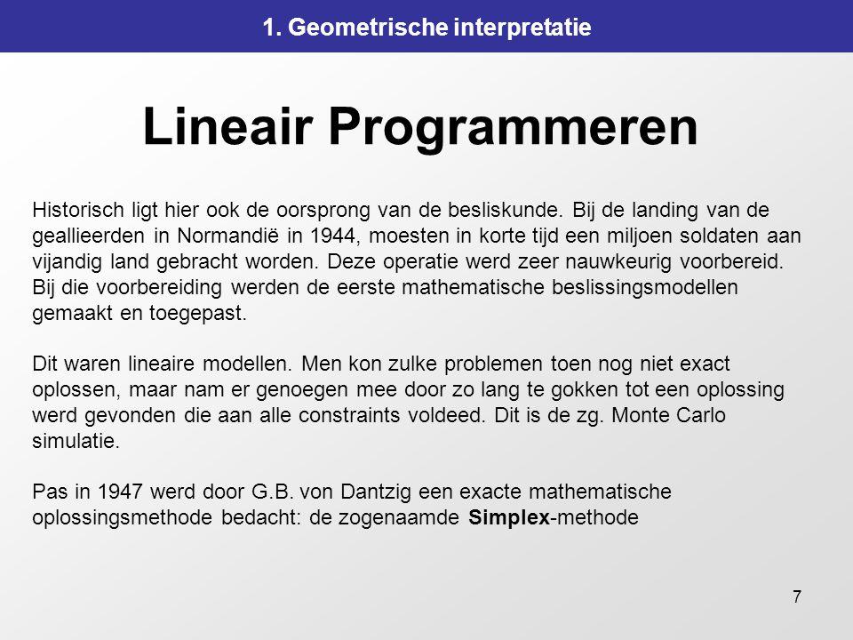 7 Lineair Programmeren 1. Geometrische interpretatie Historisch ligt hier ook de oorsprong van de besliskunde. Bij de landing van de geallieerden in N