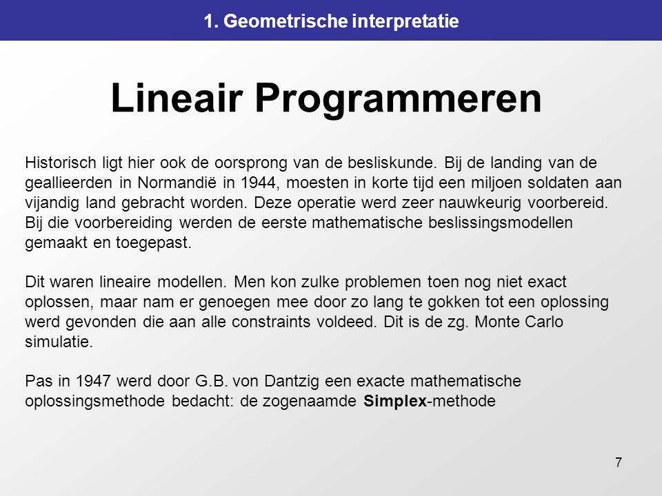 7 Lineair Programmeren 1.