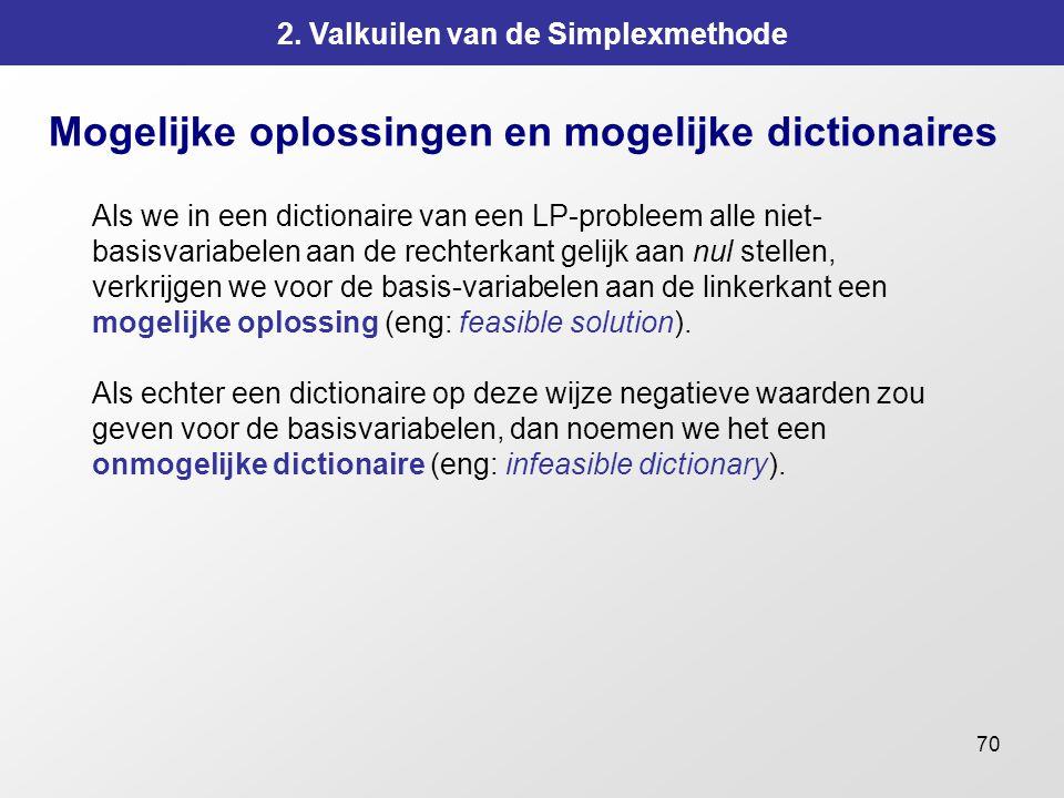 70 2. Valkuilen van de Simplexmethode Mogelijke oplossingen en mogelijke dictionaires Als we in een dictionaire van een LP-probleem alle niet- basisva
