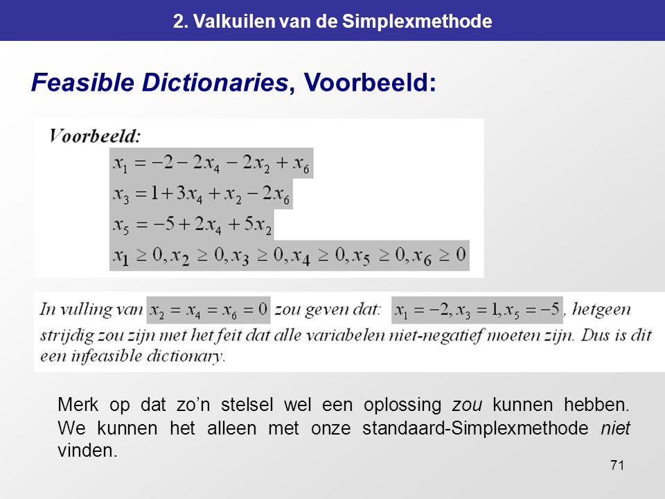 71 2. Valkuilen van de Simplexmethode Feasible Dictionaries, Voorbeeld: Merk op dat zo'n stelsel wel een oplossing zou kunnen hebben. We kunnen het al