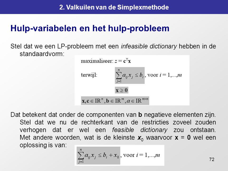 72 2. Valkuilen van de Simplexmethode Hulp-variabelen en het hulp-probleem Stel dat we een LP-probleem met een infeasible dictionary hebben in de stan