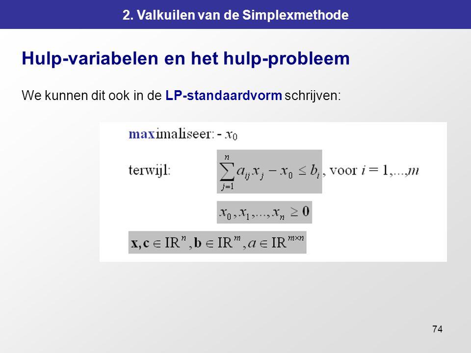 74 2. Valkuilen van de Simplexmethode Hulp-variabelen en het hulp-probleem We kunnen dit ook in de LP-standaardvorm schrijven:
