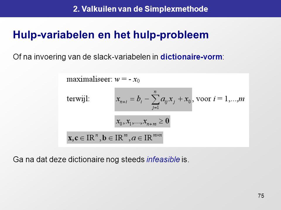 75 2. Valkuilen van de Simplexmethode Hulp-variabelen en het hulp-probleem Of na invoering van de slack-variabelen in dictionaire-vorm: Ga na dat deze
