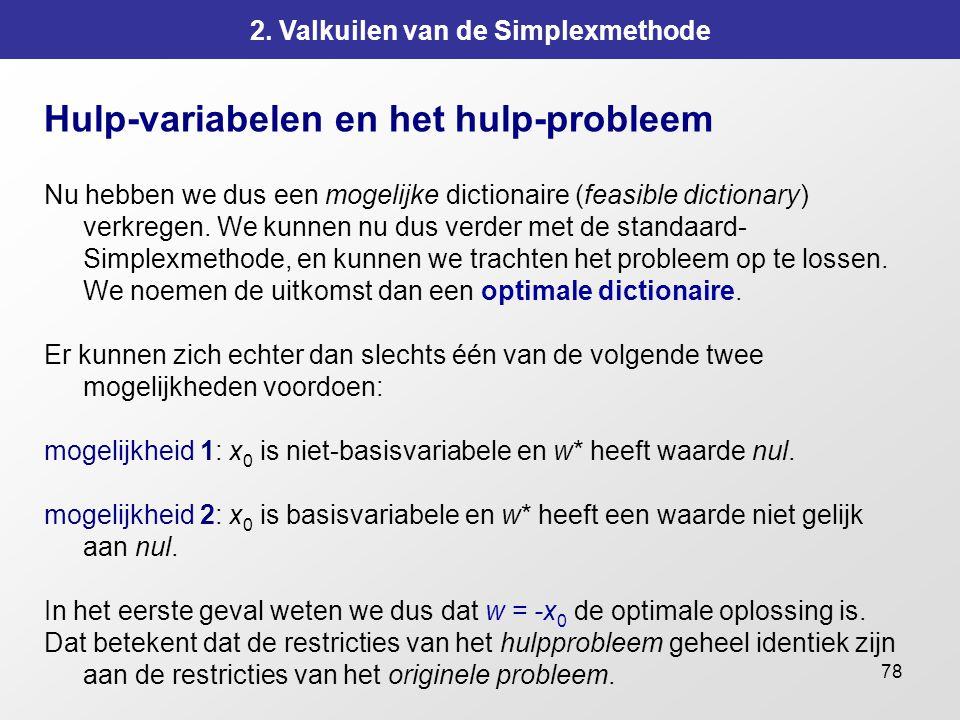 78 2. Valkuilen van de Simplexmethode Hulp-variabelen en het hulp-probleem Nu hebben we dus een mogelijke dictionaire (feasible dictionary) verkregen.