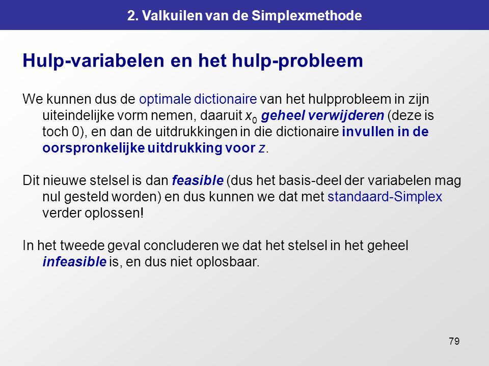 79 2. Valkuilen van de Simplexmethode Hulp-variabelen en het hulp-probleem We kunnen dus de optimale dictionaire van het hulpprobleem in zijn uiteinde