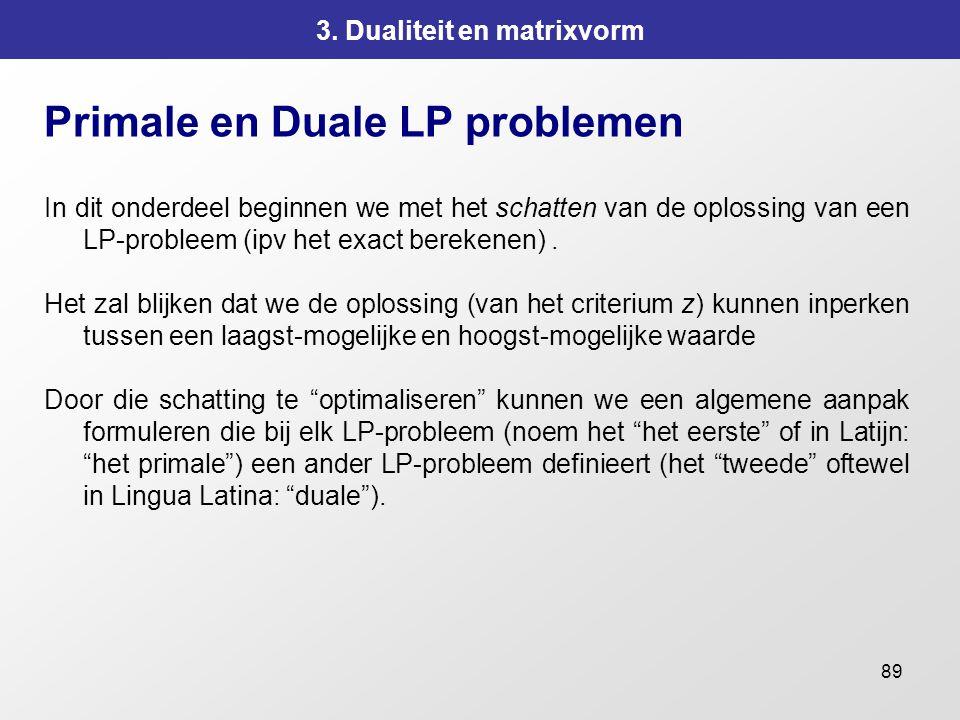 89 3. Dualiteit en matrixvorm Primale en Duale LP problemen In dit onderdeel beginnen we met het schatten van de oplossing van een LP-probleem (ipv he