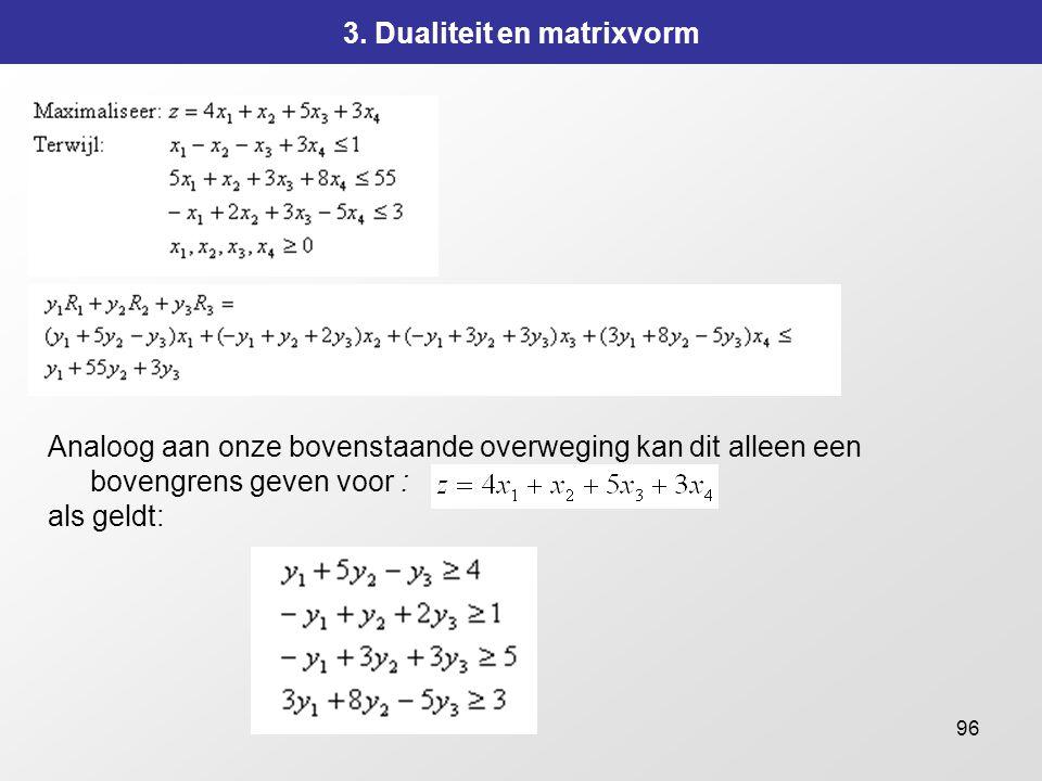 96 3. Dualiteit en matrixvorm Analoog aan onze bovenstaande overweging kan dit alleen een bovengrens geven voor : als geldt: