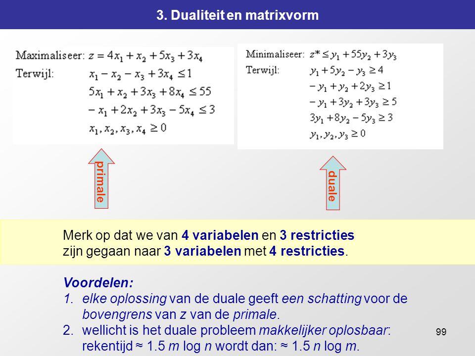 99 3. Dualiteit en matrixvorm Merk op dat we van 4 variabelen en 3 restricties zijn gegaan naar 3 variabelen met 4 restricties. Voordelen: 1.elke oplo