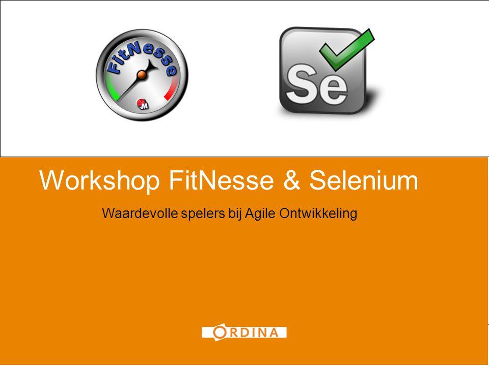 Workshop FitNesse & Selenium Waardevolle spelers bij Agile Ontwikkeling 1