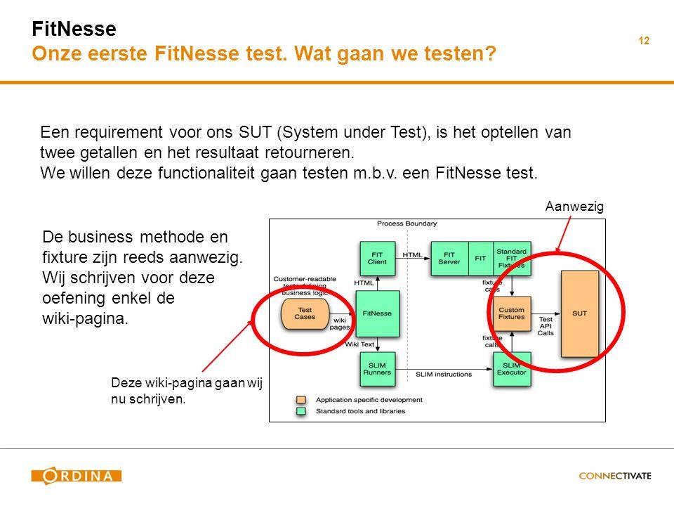 FitNesse Onze eerste FitNesse test. Wat gaan we testen? 12 Een requirement voor ons SUT (System under Test), is het optellen van twee getallen en het