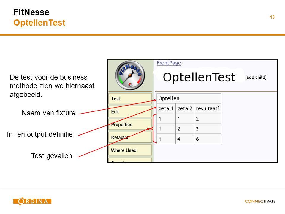 FitNesse OptellenTest 13 De test voor de business methode zien we hiernaast afgebeeld. Naam van fixture In- en output definitie Test gevallen