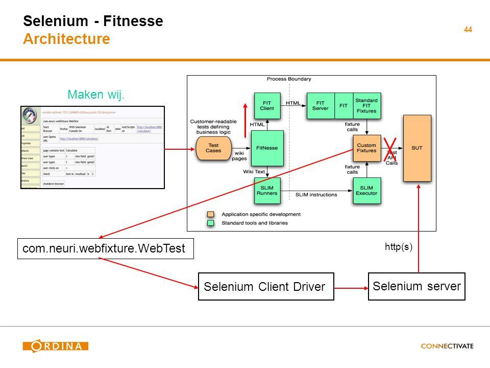 Selenium - Fitnesse Architecture 44 Selenium server com.neuri.webfixture.WebTest http(s) Selenium Client Driver Maken wij.