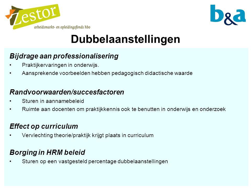 Dubbelaanstellingen Bijdrage aan professionalisering Praktijkervaringen in onderwijs.