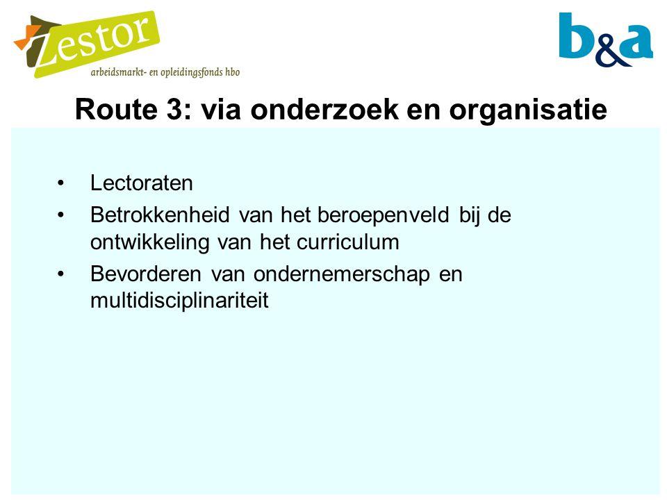 Route 3: via onderzoek en organisatie Lectoraten Betrokkenheid van het beroepenveld bij de ontwikkeling van het curriculum Bevorderen van ondernemerschap en multidisciplinariteit