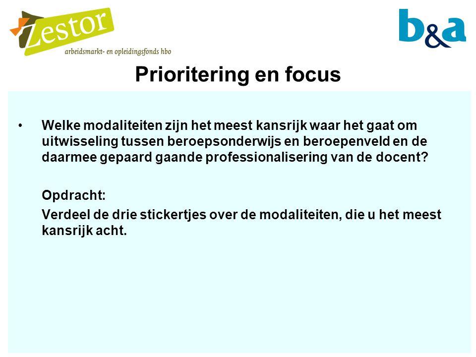 Prioritering en focus Welke modaliteiten zijn het meest kansrijk waar het gaat om uitwisseling tussen beroepsonderwijs en beroepenveld en de daarmee gepaard gaande professionalisering van de docent.