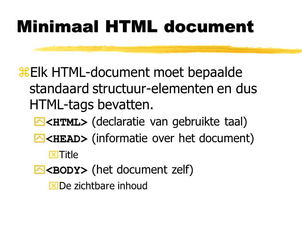 Minimaal HTML document zElk HTML-document moet bepaalde standaard structuur-elementen en dus HTML-tags bevatten.   (declaratie van gebruikte taal) 