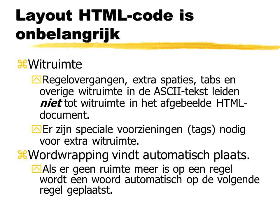 Layout HTML-code is onbelangrijk zWitruimte yRegelovergangen, extra spaties, tabs en overige witruimte in de ASCII-tekst leiden niet tot witruimte in