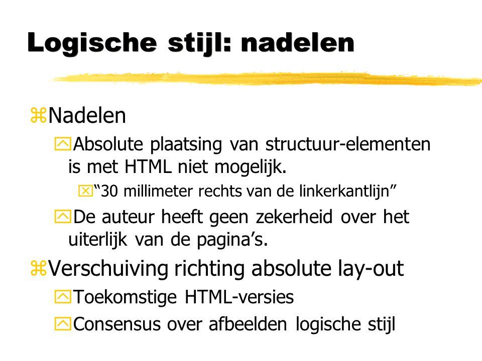 """Logische stijl: nadelen zNadelen yAbsolute plaatsing van structuur-elementen is met HTML niet mogelijk. x""""30 millimeter rechts van de linkerkantlijn"""""""