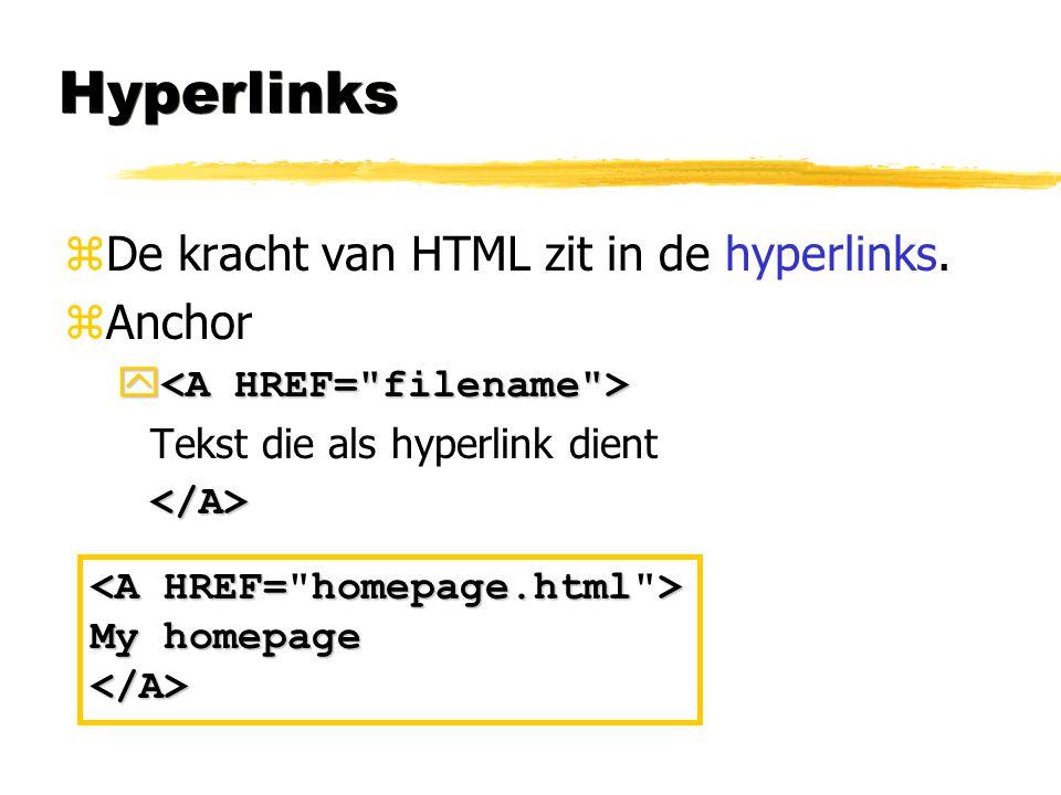 Hyperlinks zDe kracht van HTML zit in de hyperlinks. zAnchor   Tekst die als hyperlink dient</A> My homepage </A>