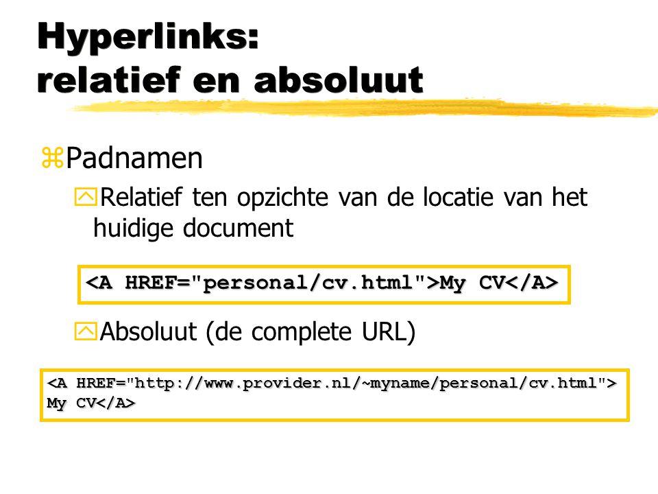 Hyperlinks: relatief en absoluut zPadnamen yRelatief ten opzichte van de locatie van het huidige document yAbsoluut (de complete URL) My CV My CV My C