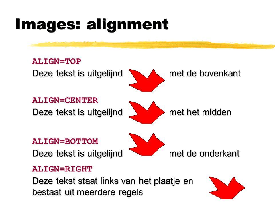 Images: alignment ALIGN=TOP ALIGN=CENTER ALIGN=BOTTOM Deze tekst is uitgelijnd met de bovenkant Deze tekst is uitgelijnd met het midden Deze tekst is