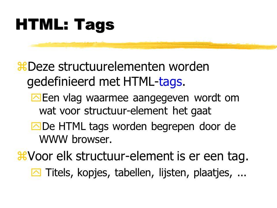 HTML: Tags zDeze structuurelementen worden gedefinieerd met HTML-tags. yEen vlag waarmee aangegeven wordt om wat voor structuur-element het gaat yDe H