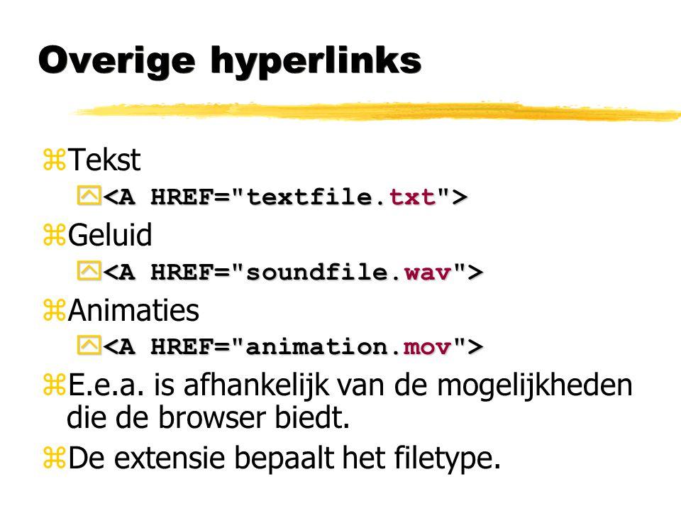Overige hyperlinks zTekst   zGeluid   zAnimaties y y zE.e.a. is afhankelijk van de mogelijkheden die de browser biedt. zDe extensie bepaalt het fi