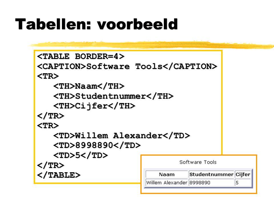 Tabellen: voorbeeld Software Tools Software Tools <TR> Naam Naam Studentnummer Studentnummer Cijfer Cijfer </TR><TR> Willem Alexander Willem Alexander