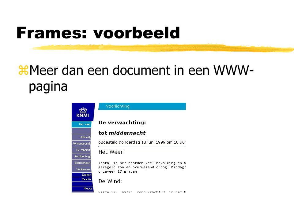 Frames: voorbeeld zMeer dan een document in een WWW- pagina