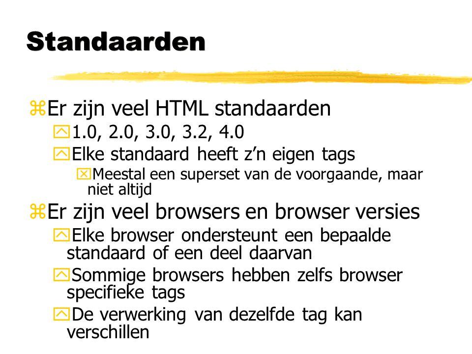 Standaarden zEr zijn veel HTML standaarden y1.0, 2.0, 3.0, 3.2, 4.0 yElke standaard heeft z'n eigen tags xMeestal een superset van de voorgaande, maar