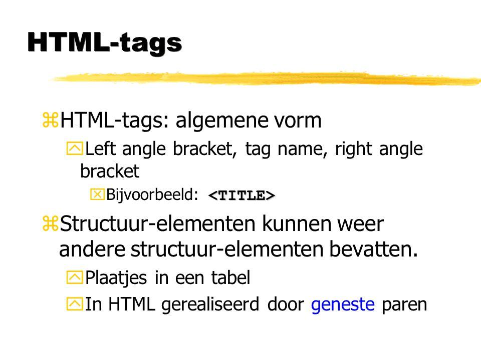 HTML-tags zHTML-tags: algemene vorm yLeft angle bracket, tag name, right angle bracket  Bijvoorbeeld: zStructuur-elementen kunnen weer andere structu