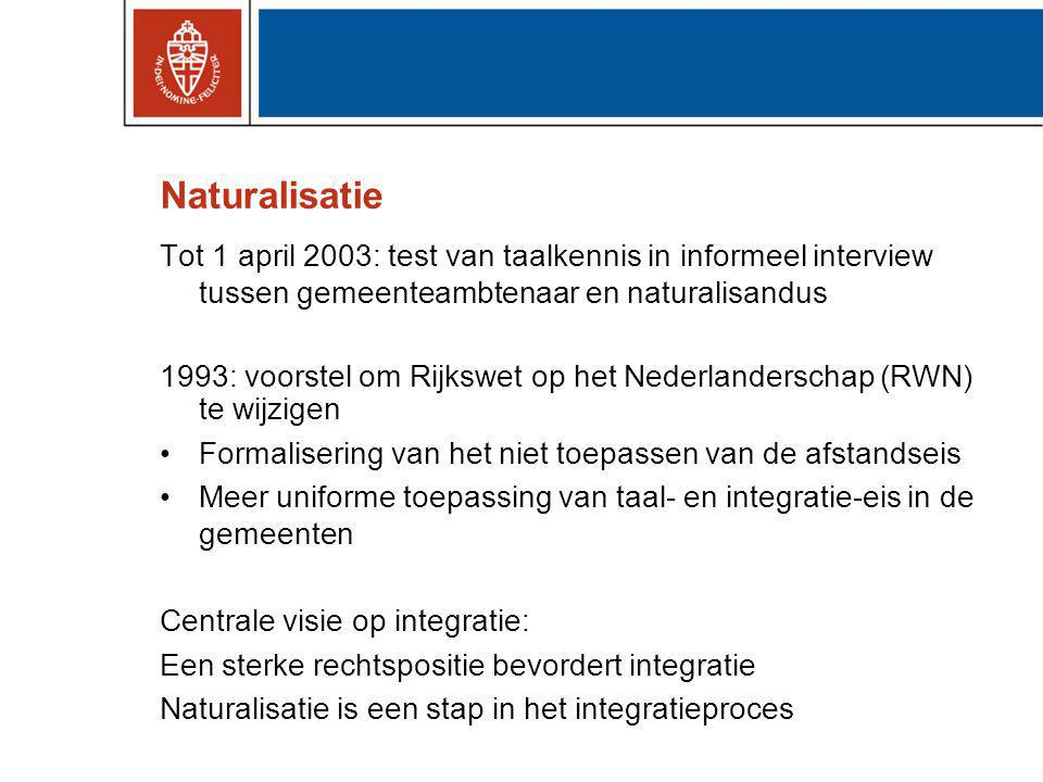 Politieke debat 1993-2000 CDA en VVD: Naturalisatie 'te gemakkelijk' en vanwege instrumentele redenen Maakten bezwaar tegen afschaffing afstandseis Naturalisatie is juridische en emotionele voltooiing van de integratie.