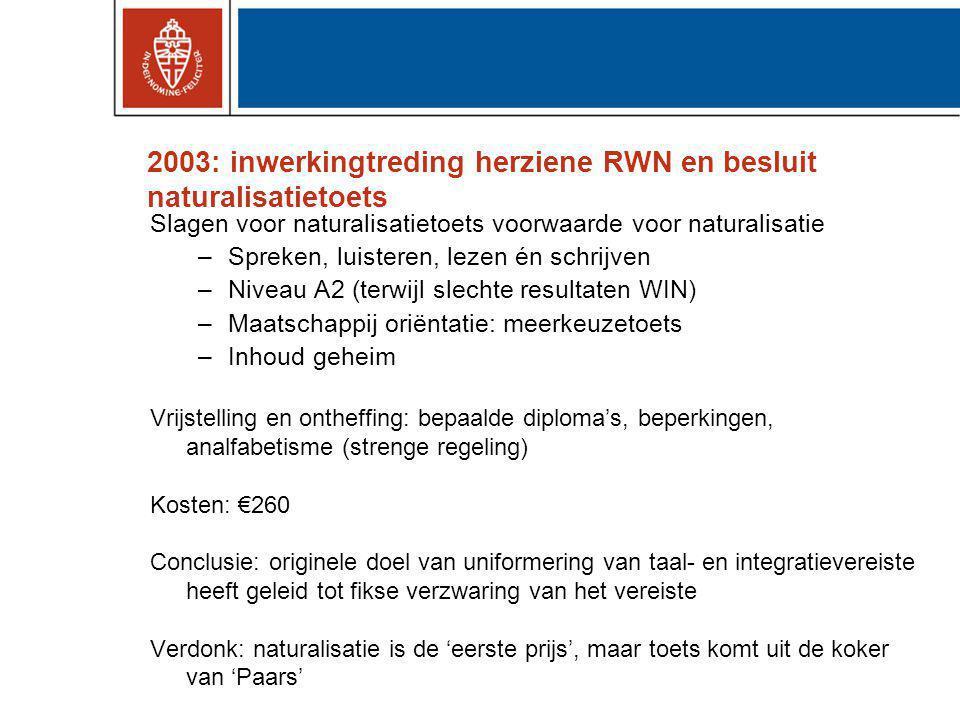 Conclusies Introductie van integratie-eisen om (vaak verborgen) doel om niveau en type immigratie te controleren.