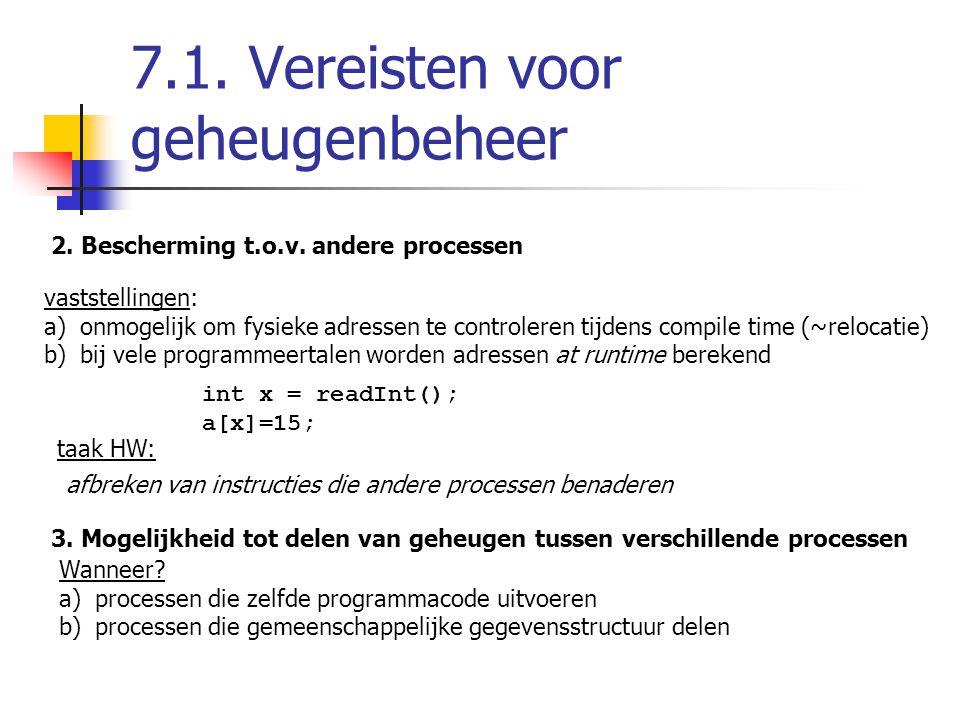 7.1.Vereisten voor geheugenbeheer 2. Bescherming t.o.v.