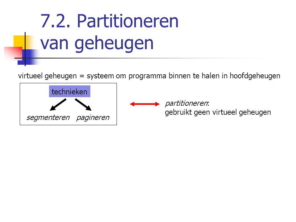 7.2. Partitioneren van geheugen virtueel geheugen = systeem om programma binnen te halen in hoofdgeheugen technieken segmenteren pagineren partitioner
