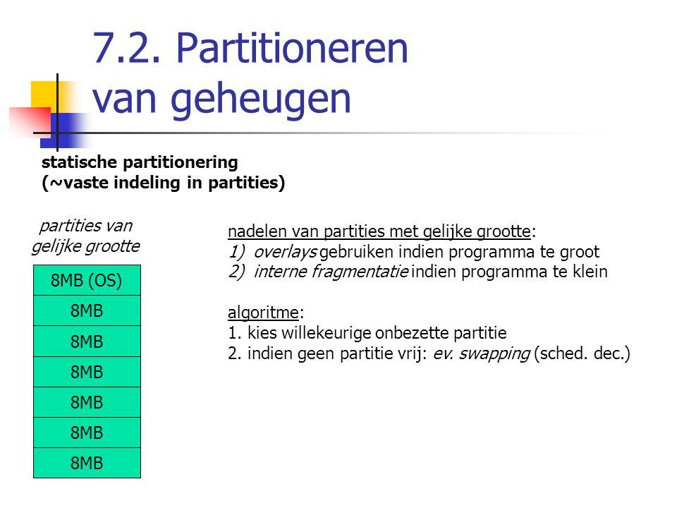 7.2. Partitioneren van geheugen statische partitionering (~vaste indeling in partities) 8MB (OS) 8MB partities van gelijke grootte nadelen van partiti