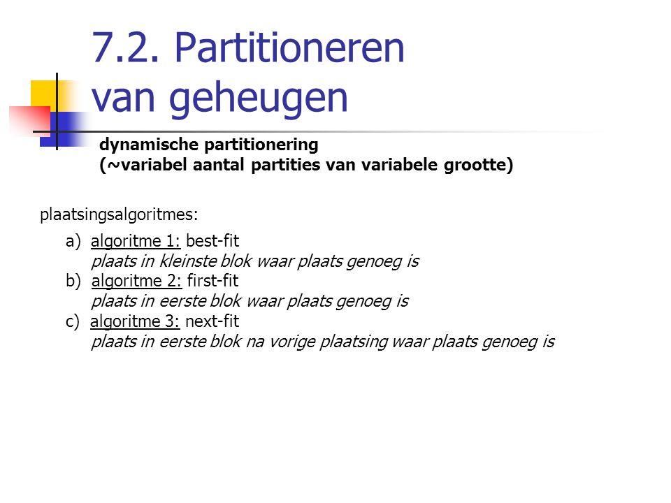 7.2. Partitioneren van geheugen dynamische partitionering (~variabel aantal partities van variabele grootte) plaatsingsalgoritmes: a)algoritme 1: best