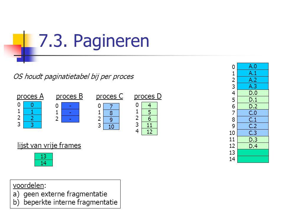 7.3. Pagineren 0 1 2 3 4 5 6 7 8 9 10 11 12 13 14 D.0 D.1 D.2 D.3 D.4 A.0 A.1 A.2 A.3 C.0 C.1 C.2 C.3 OS houdt paginatietabel bij per proces proces Ap