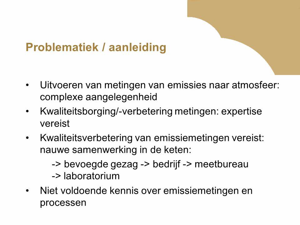 Problematiek / aanleiding Uitvoeren van metingen van emissies naar atmosfeer: complexe aangelegenheid Kwaliteitsborging/-verbetering metingen: experti