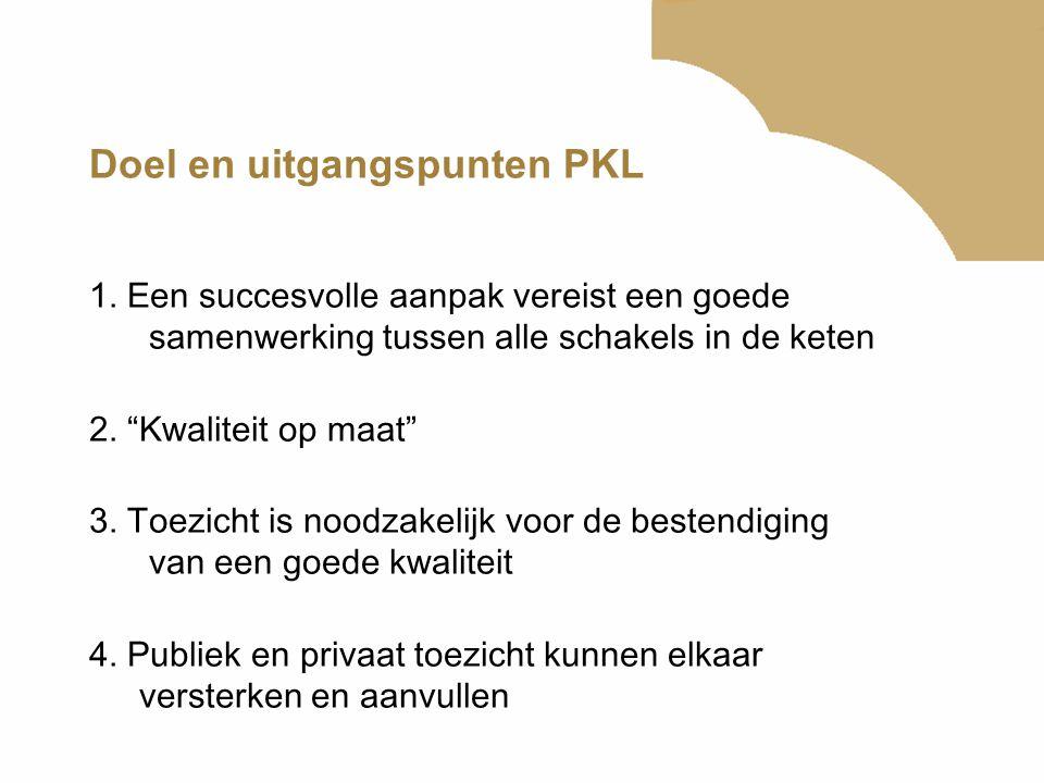 """Doel en uitgangspunten PKL 1. Een succesvolle aanpak vereist een goede samenwerking tussen alle schakels in de keten 2. """"Kwaliteit op maat"""" 3. Toezich"""