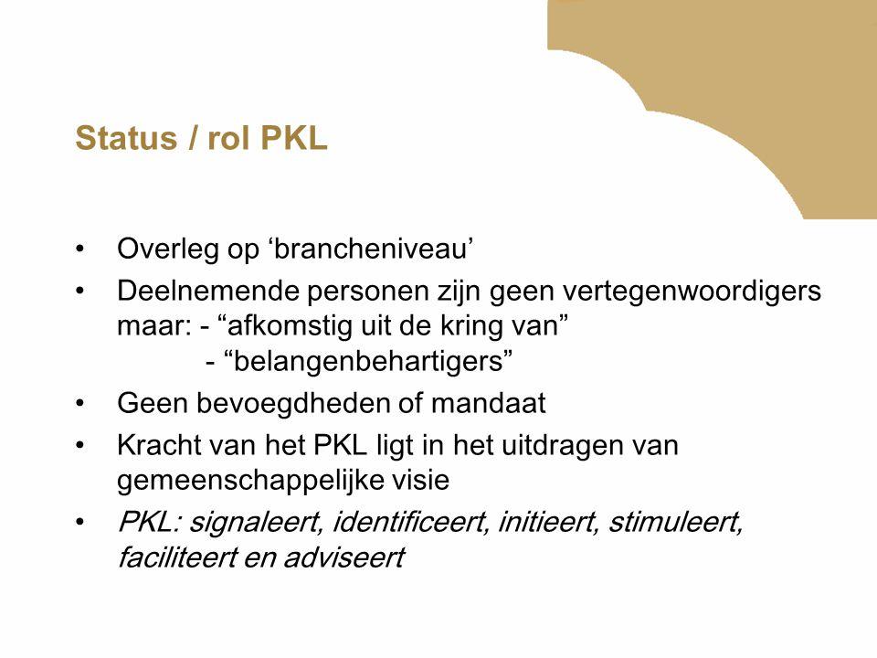 """Status / rol PKL Overleg op 'brancheniveau' Deelnemende personen zijn geen vertegenwoordigers maar: - """"afkomstig uit de kring van"""" - """"belangenbehartig"""
