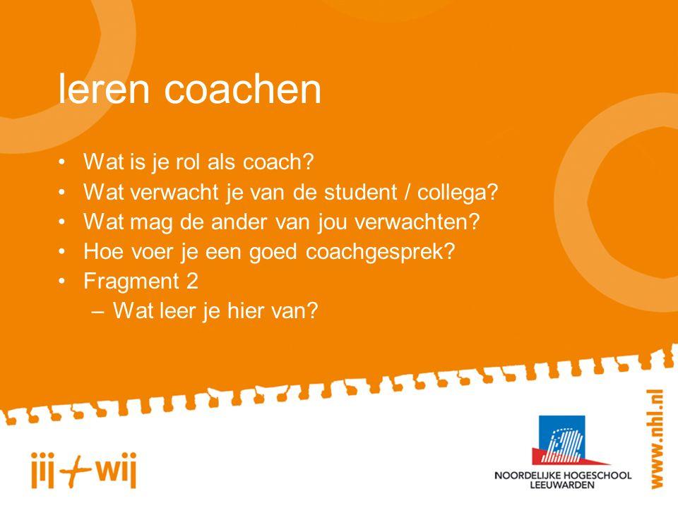 leren coachen Wat is je rol als coach. Wat verwacht je van de student / collega.