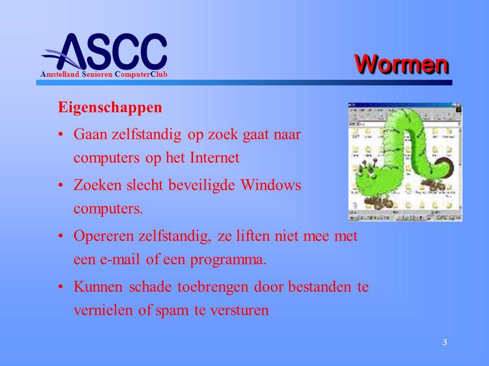 Amstelland Senioren ComputerClub 3 WormenWormen Eigenschappen Gaan zelfstandig op zoek gaat naar computers op het Internet Zoeken slecht beveiligde Windows computers.