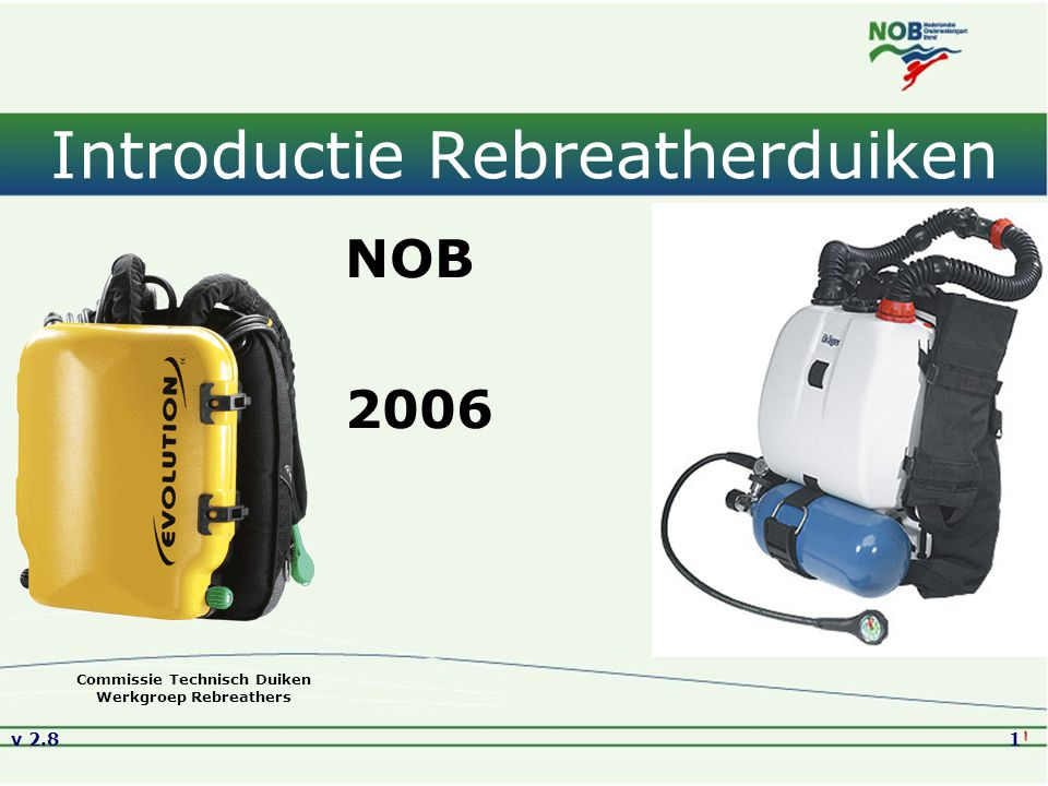v 2.832 SCR versus CCR Overeenkomsten: afsluitbaar mondstuk, vouwslangen, contralongen, CO 2 -scrubber, wing (voor trimmen) Verschillen: SCR Mechanisch geregeld Bellen (minder op diepte) Eén ademgasmengsel Nitrox (of Trimix) injectie Percentage O 2 is vast pO 2 is variabel Deco net zo efficiënt als Nitrox Gasverbruik 6-8 x minder dan OC Prijs € 3.000 - € 5.000 CCR Elektronisch geregeld Geen bellen Twee gassen 100% zuurstof injectie Percentage O 2 is variabel pO 2 is vast Deco efficiënter dan Nitrox Gasverbruik 10-100 x minder dan OC Prijs € 6.000 - € 12.000