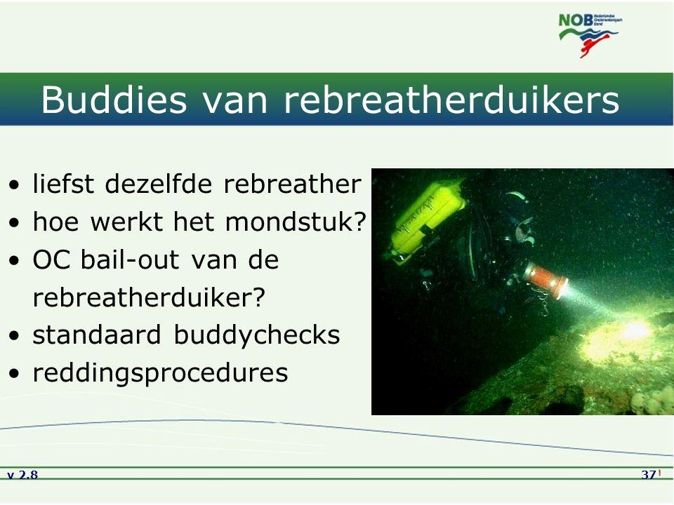 v 2.837 Buddies van rebreatherduikers liefst dezelfde rebreather hoe werkt het mondstuk? OC bail-out van de rebreatherduiker? standaard buddychecks re