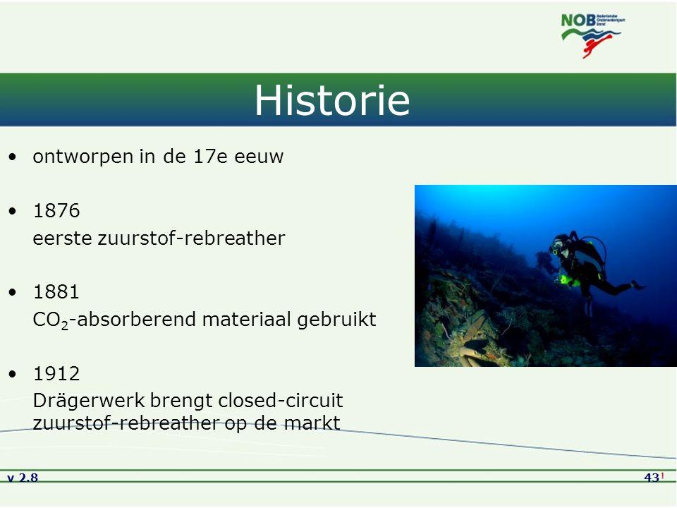 v 2.843 Historie ontworpen in de 17e eeuw 1876 eerste zuurstof-rebreather 1881 CO 2 -absorberend materiaal gebruikt 1912 Drägerwerk brengt closed-circuit zuurstof-rebreather op de markt